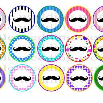 Mustache Bash; Digital Bottle Cap Images - Mustache Bash